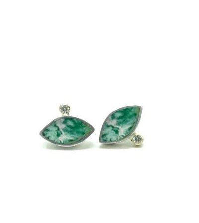 Young In The Mountains GEO MARQUISE STUDS - CHRYSOCOLLA