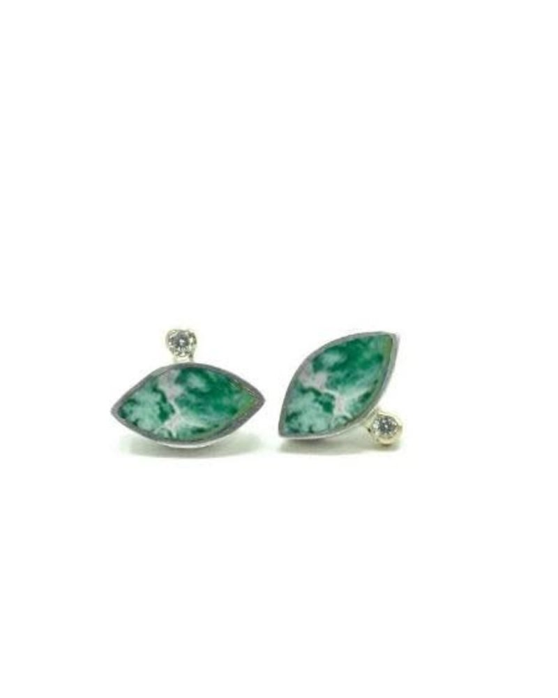 Young In The Mountains Geo Marquise Studs Chrysocolla