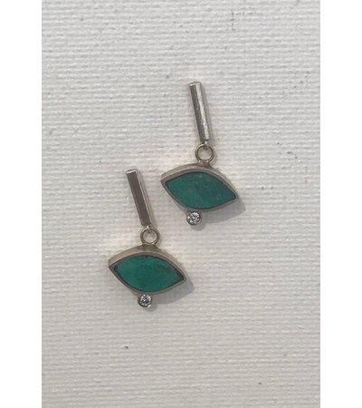Young In The Mountains GEO MARQUISE BAR EARRINGS, CHRYSOCOLLA