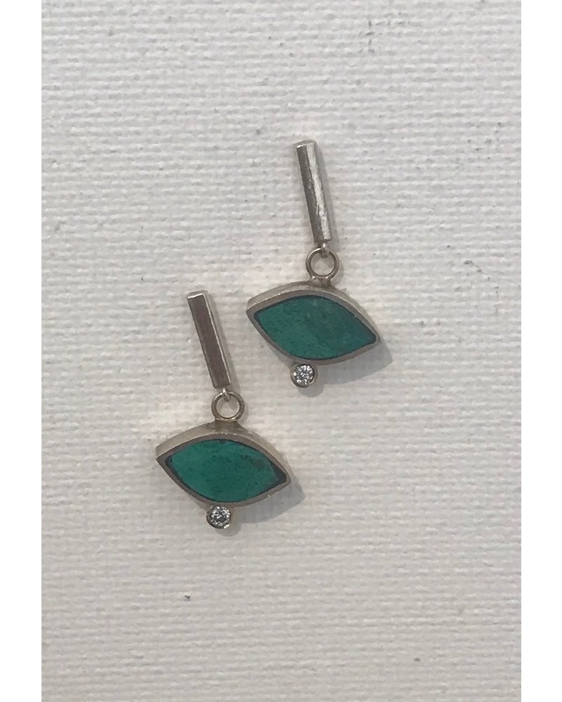 Young In The Mountains Geo Marquise Bar Earrings Chrysocolla