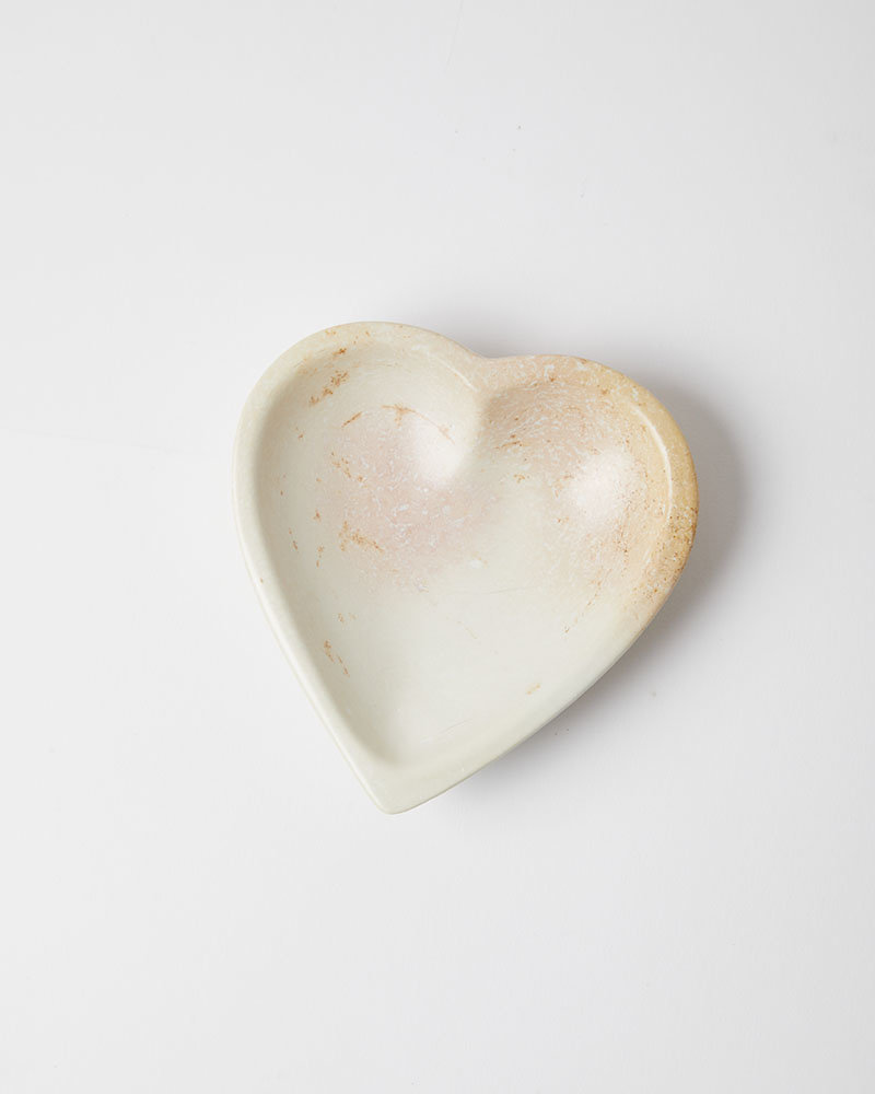 Venture Imports Natural Stone Heart Dish