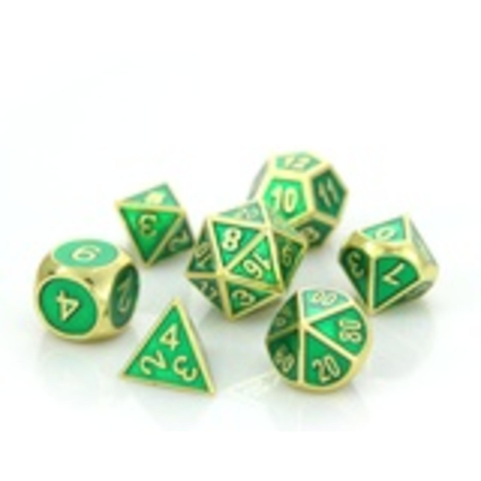 Die Hard Dice Die Hard Dice: Polyhedral Metal Dice Set - Gemstone Gold Emerald