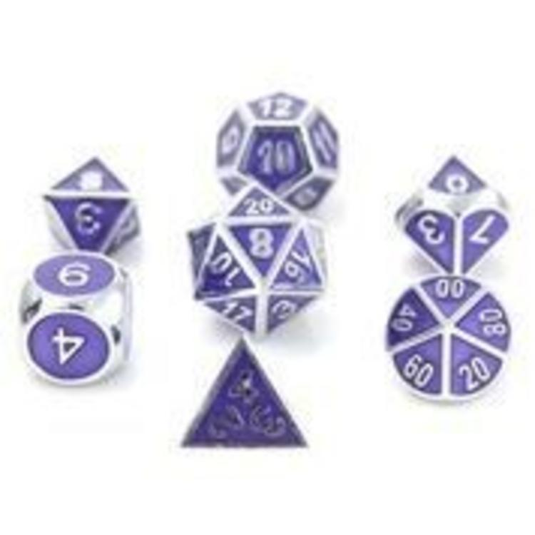 Die Hard Dice Die Hard Dice: Gemstone Metal Dice Set: Silver Amethyst