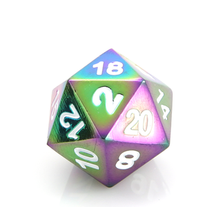 Die Hard Dice Die Hard Dice: Classic Metal Dice Set: Scorched Rainbow w/ White
