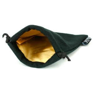 Easy Roller Dice Easy Roller Dice: Velvet Black Dice Bag - Gold Satin