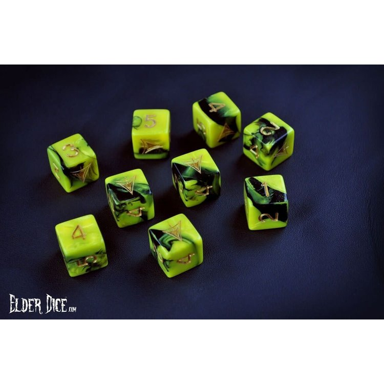 Infinite Black Elder Dice: d6 Set: Yellow Sign (9)