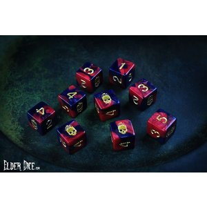 Infinite Black Elder Dice: d6 Set: Mark of Necronomicon (9)