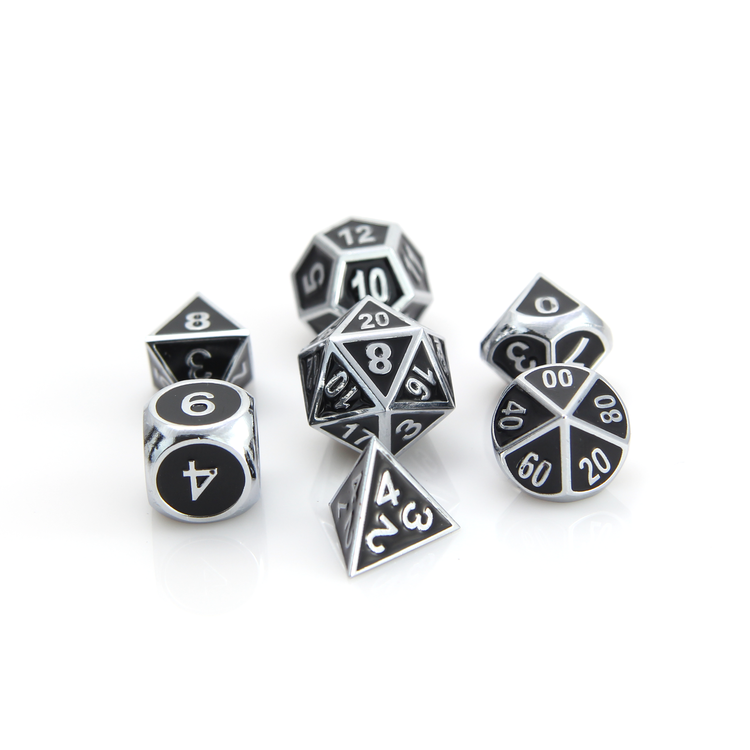 Die Hard Dice Die Hard Dice: Gothica Metal Dice Set - Shiny Silver with Black