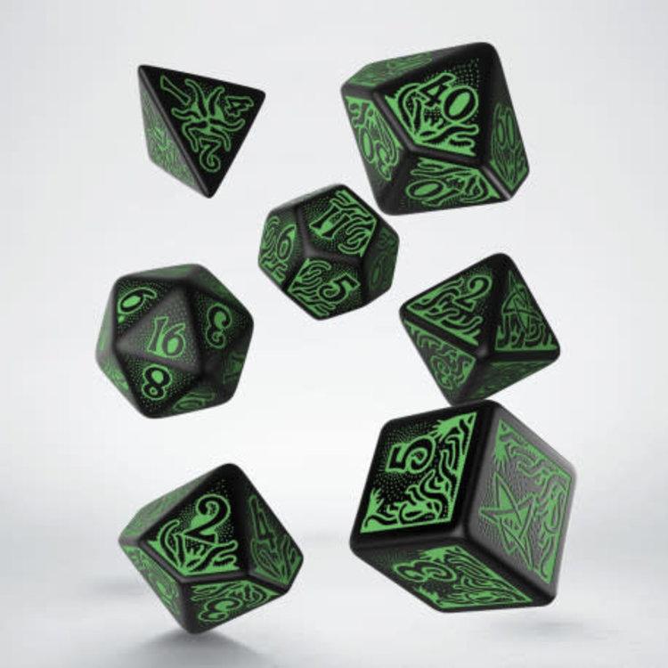 Q Workshop Q Workshop: Call of Cthulhu Polyhedral Dice Set - Black/Green