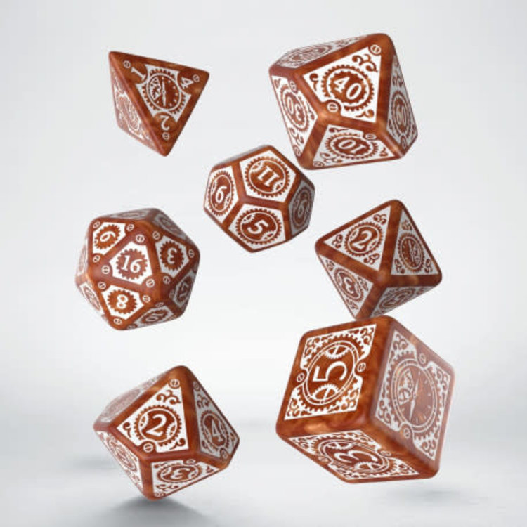 Q Workshop Q Workshop: Steampunk Clockwork Polyhedral Dice Set - Caramel/White