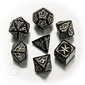 Q Workshop Q Workshop: Tribal Polyhedral Dice Set - Black and Glow
