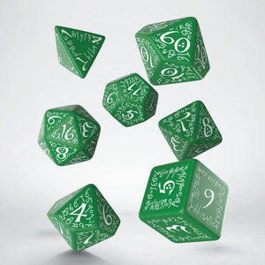 Q Workshop Q Workshop: Elven Polyhedral Dice Set - Green/White
