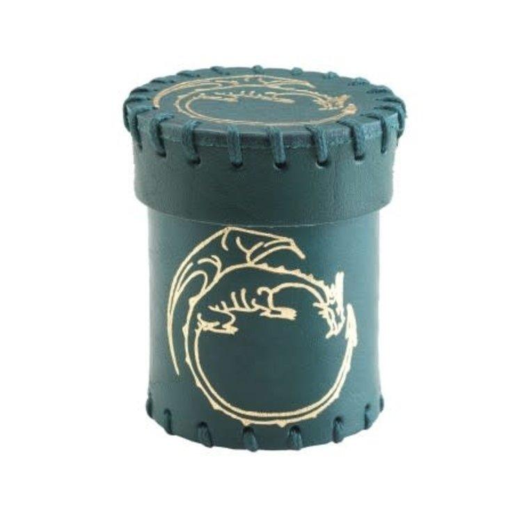 Q Workshop Q-Workshop Leather Dice Cup: Flying Dragon Brown/Gold