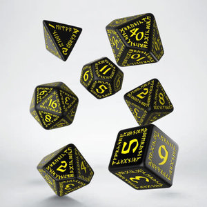 Q Workshop Q Workshop: Runic Polyhedral Dice Set - Black/Yellow