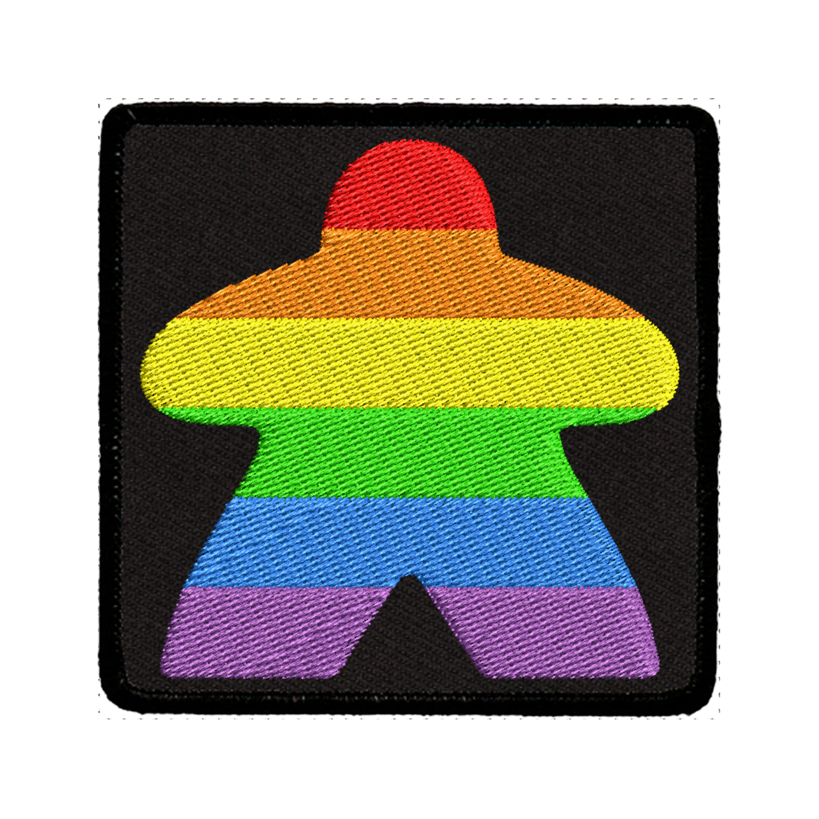 Red King Iron-on Patch: Rainbow Meeple (Black)