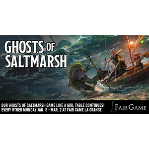 Wizards of the Coast Admission: Dungeons and Dragons Ghosts of Saltmarsh Game Like a Girl Table (Winter 2020 at La Grange)