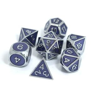 Die Hard Dice Die Hard Dice: Gemstone Metal Dice Set - Silver Tanzanite
