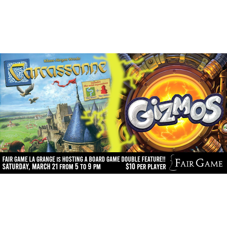 Asmodee Editions Admission: Double Feature - Carcassonne and Gizmos (March 21 La Grange)