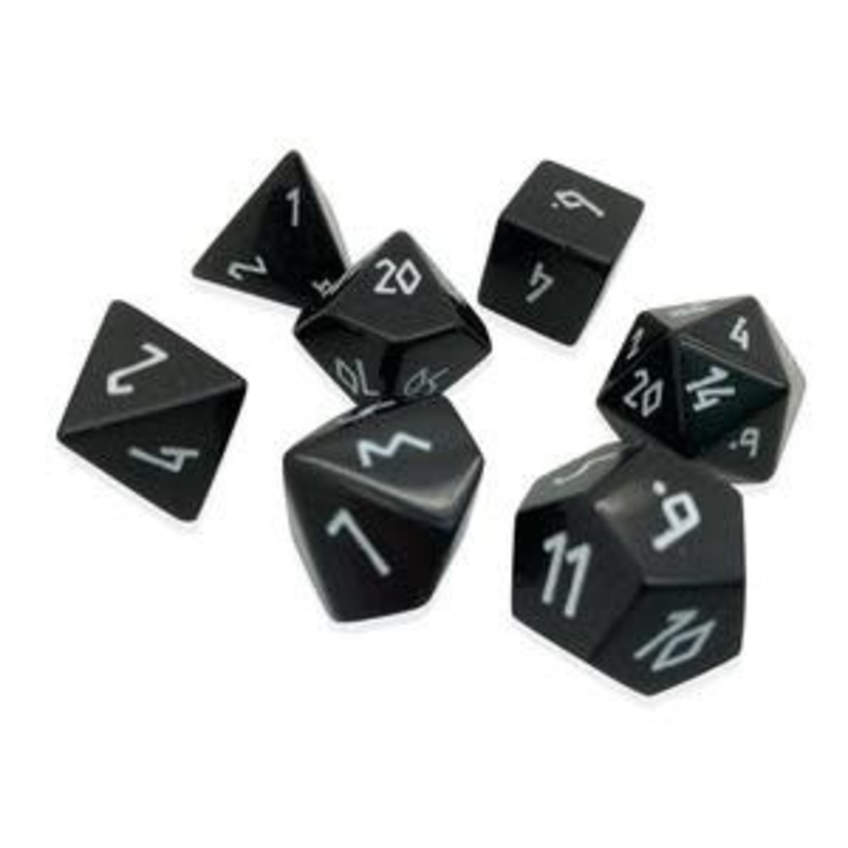 Norse Foundry Norse Foundry Dice: Gemstone Dice Set - Black Obsidian: White Font
