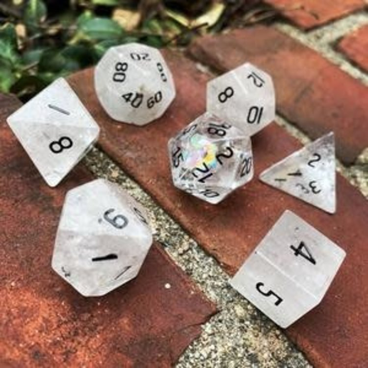 Norse Foundry Norse Foundry Dice: Gemstone Dice Set - Crystal Quartz