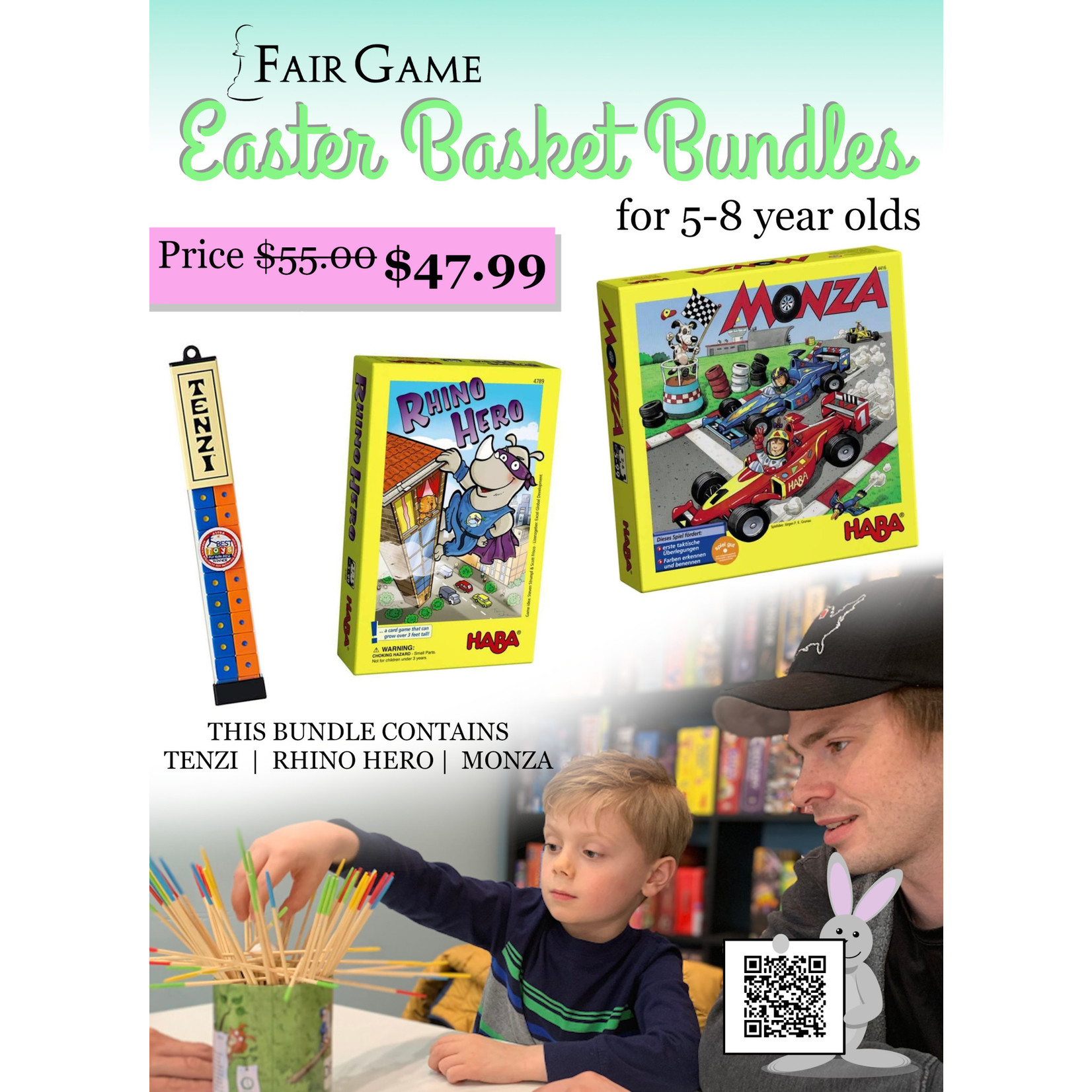 Fair Game Easter Basket Game Bundle for Ages 5-8