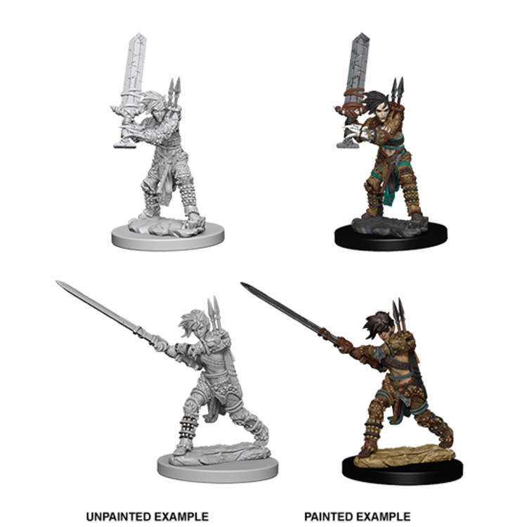 WizKids Pathfinder Battles Deep Cuts Unpainted Miniatures: Human Female Barbarian (W6)