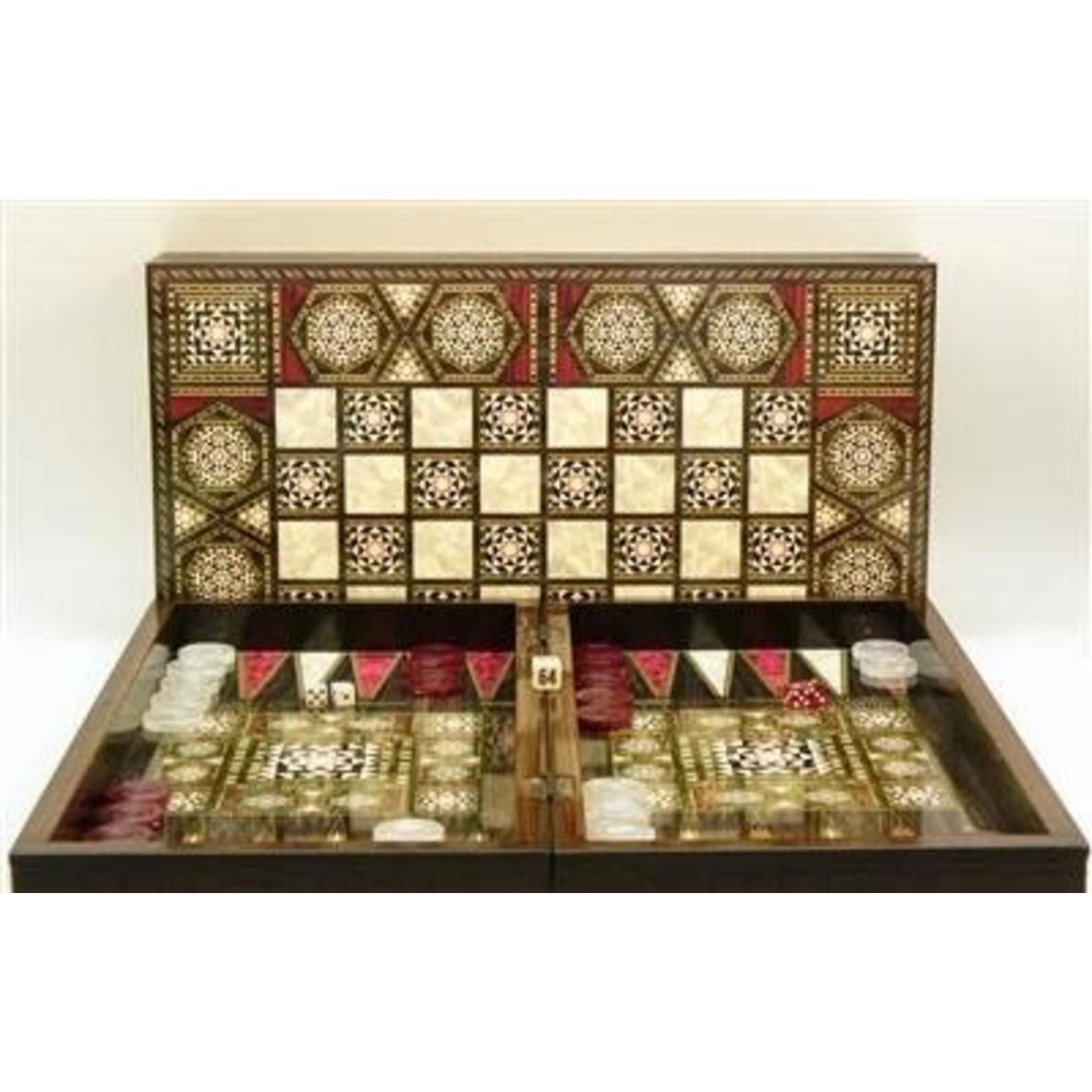 "WorldWise Imports 20"" Pearl Mosaic Backgammon Set w/ Chess Board"