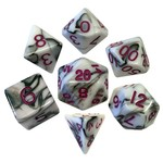 Metallic Dice Games Metallic Dice Games: 7 Set Black/White/Purple