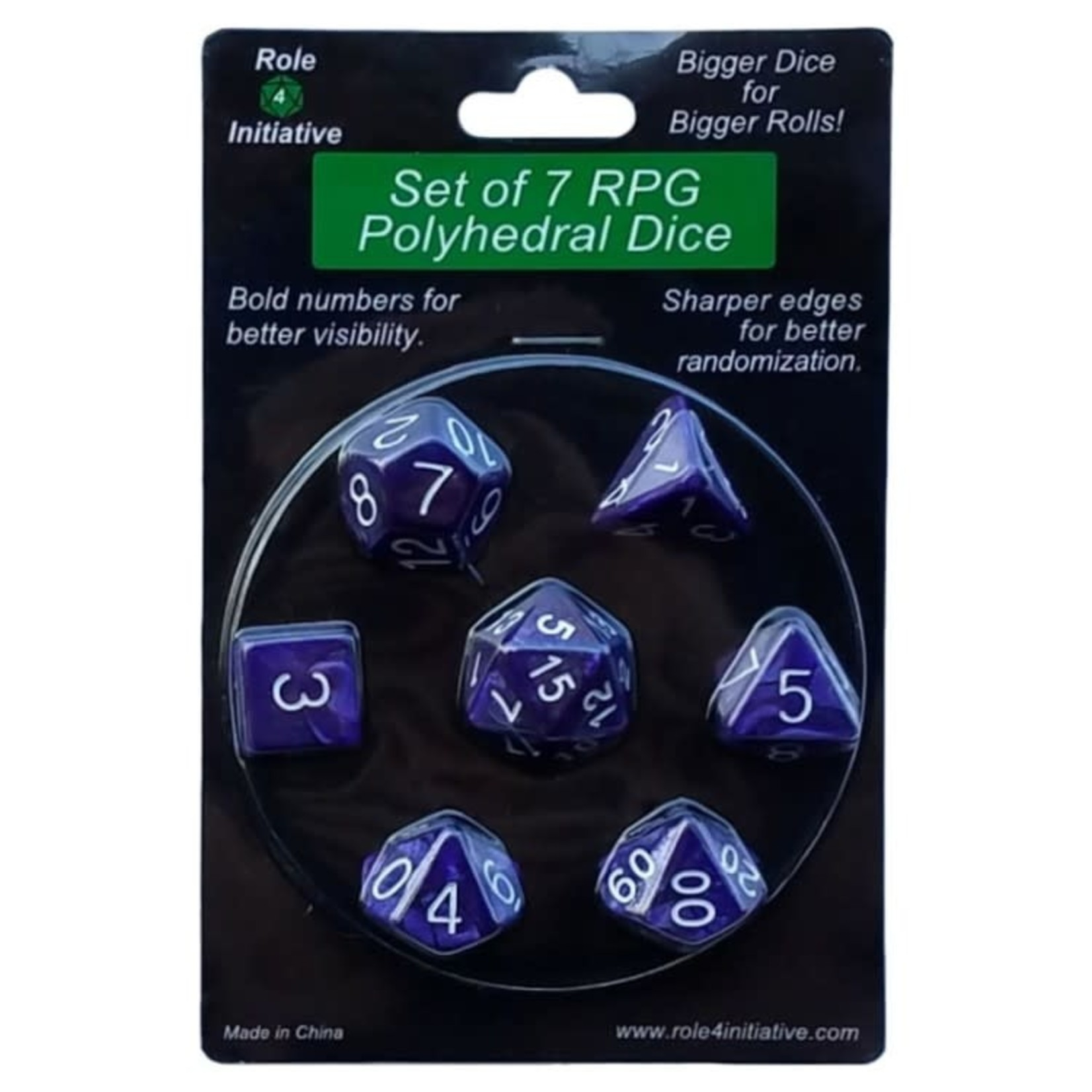 Roll 4 Initiative Polyhedral Dice: Marble Purple w/ White- Set of 7