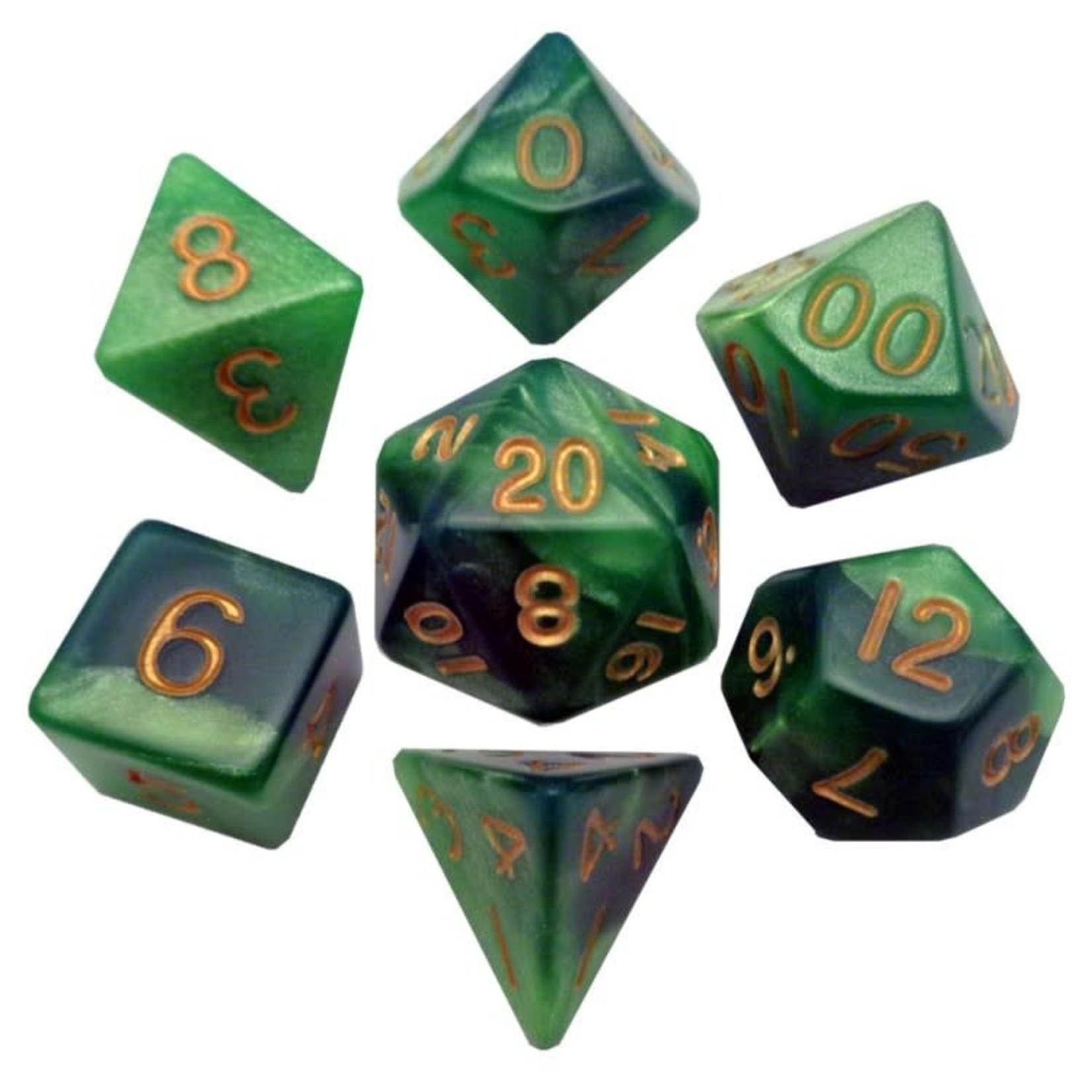 Metallic Dice Games Metallic Dice Games: 7 Set Combo Attack Green/Lt Green/Gold