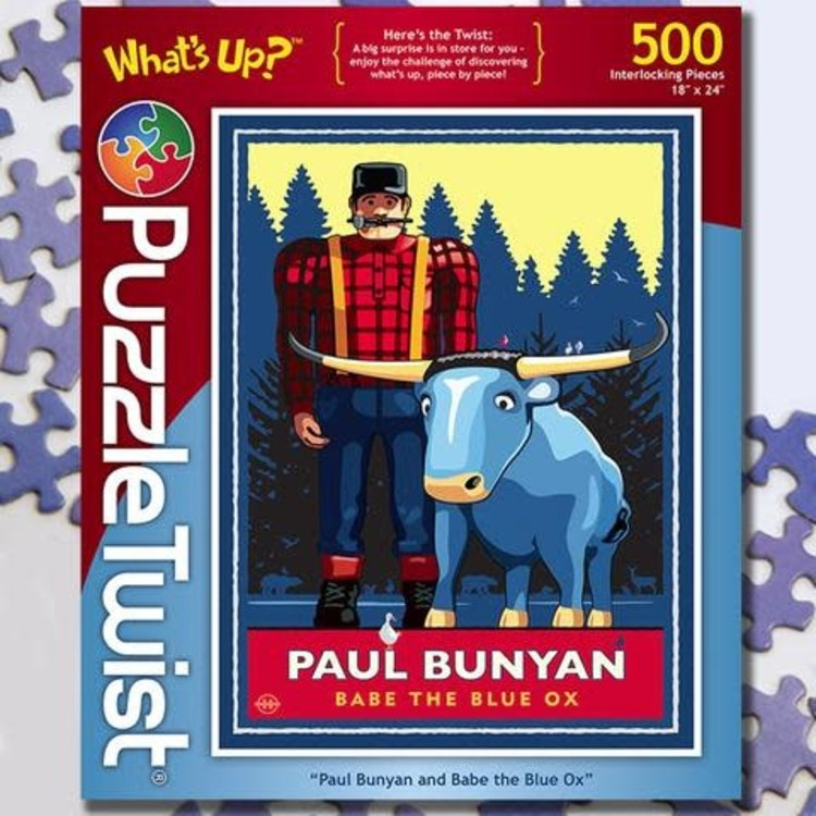 Puzzle Twist Puzzle Twist - 500 Piece Puzzle: Paul Bunyan and Babe the Blue Ox