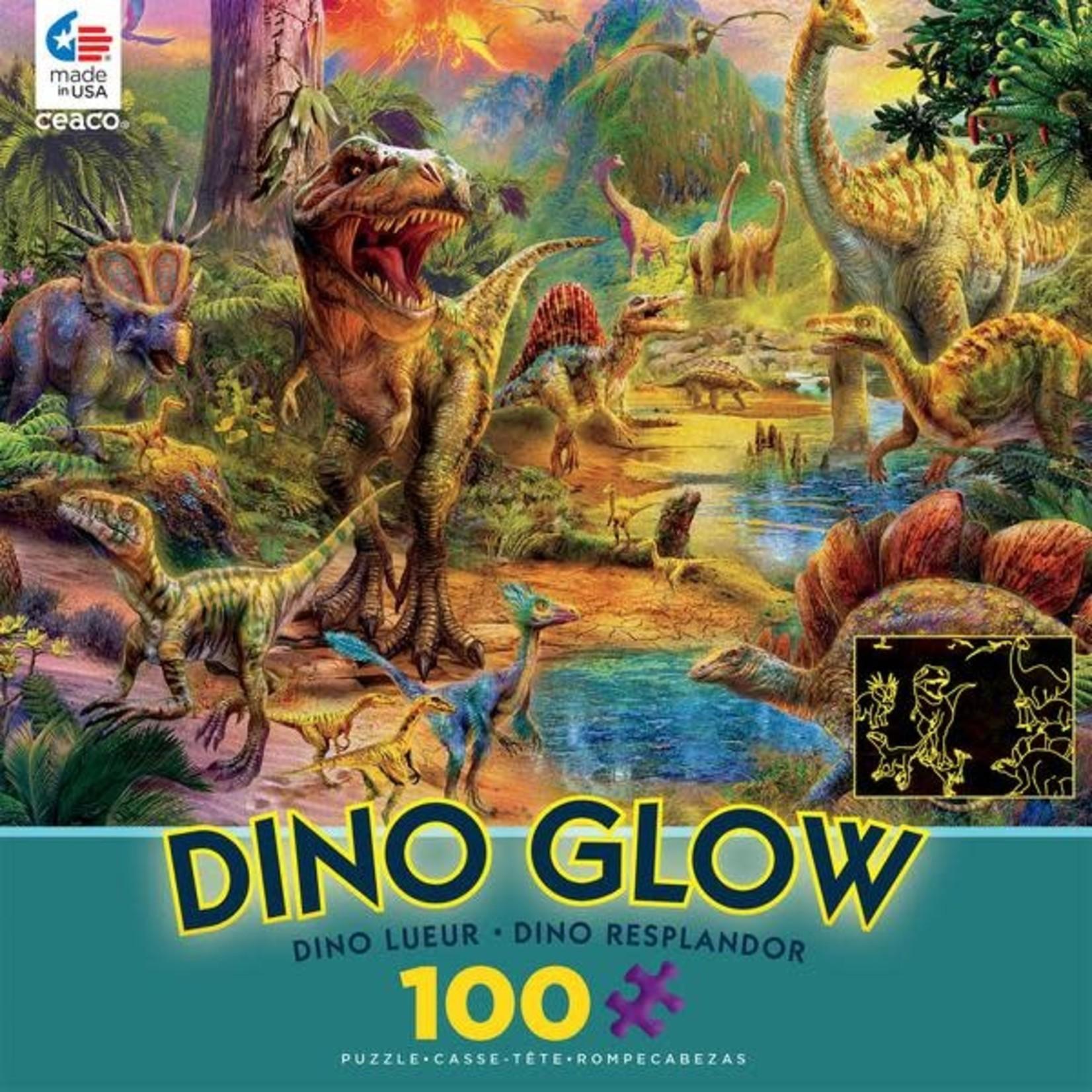 ceaco Ceaco - 100 Piece Puzzle: Glow in the Dark - Dino Landscape