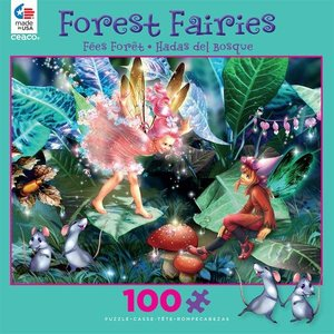 ceaco Ceaco - 100 Piece Puzzle: Glitter Forest Faeries - Fairy, Elf, and Mice