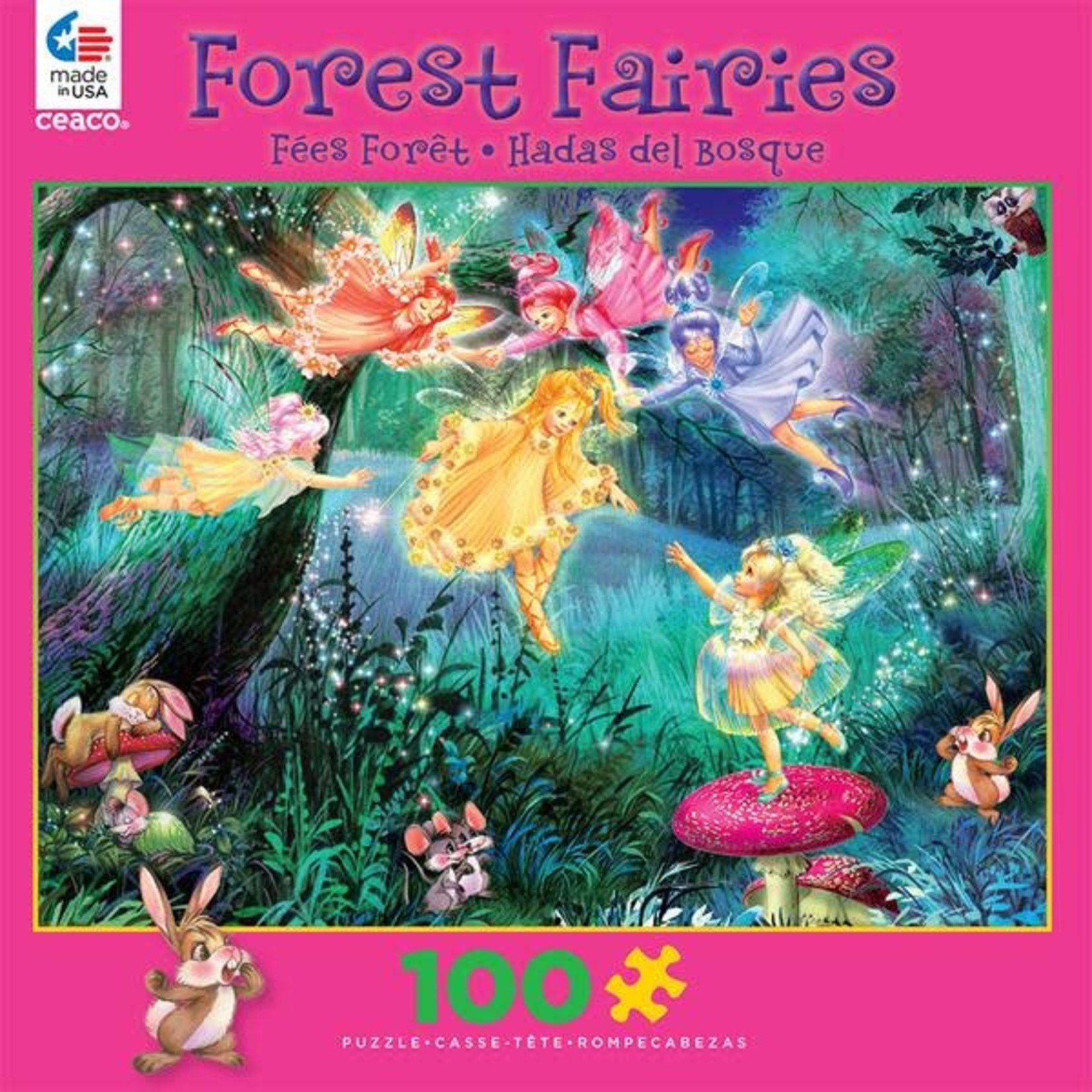 ceaco Ceaco - 100 Piece Puzzle: Glitter Forest Faeries - Fairy Ring of Six