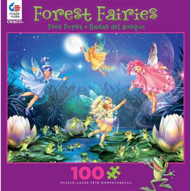 ceaco Ceaco - 100 Piece Puzzle: Glitter Forest Faeries - Faeries with Dancing Frogs