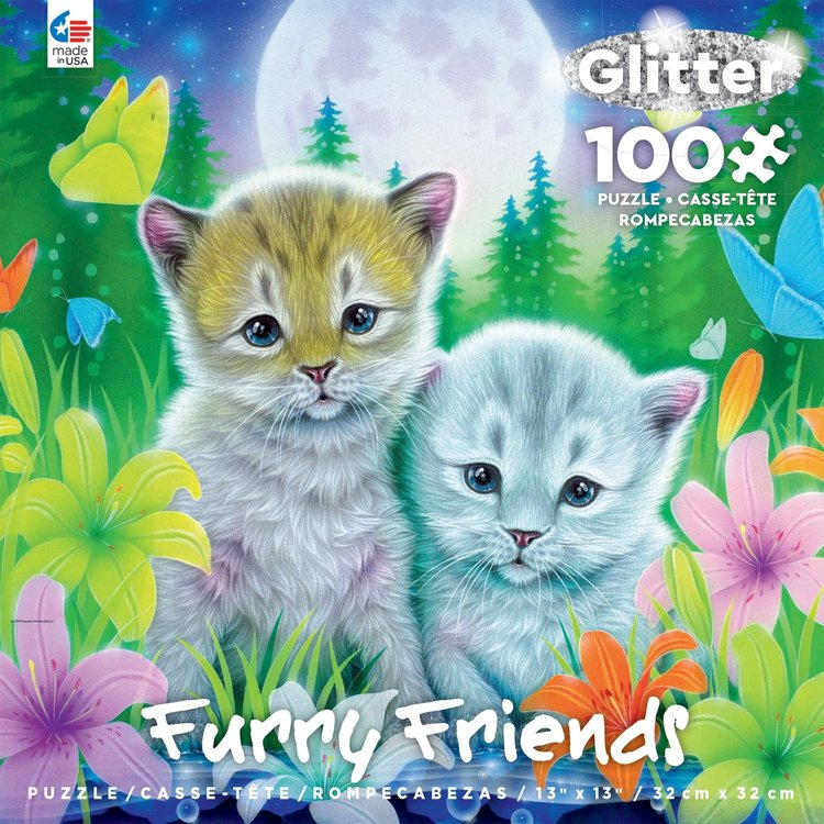 ceaco Ceaco - 100 Piece Puzzle: Glitter Furry Friends - Cat Best Friends