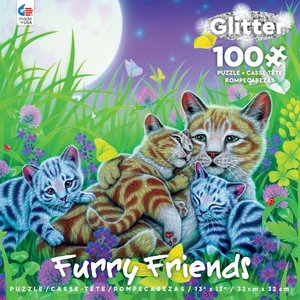 ceaco Ceaco - 100 Piece Puzzle: Glitter Furry Friends - Family Cat