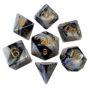 Metallic Dice Games Metallic Dice Games: 7 Set Black/White/Gold