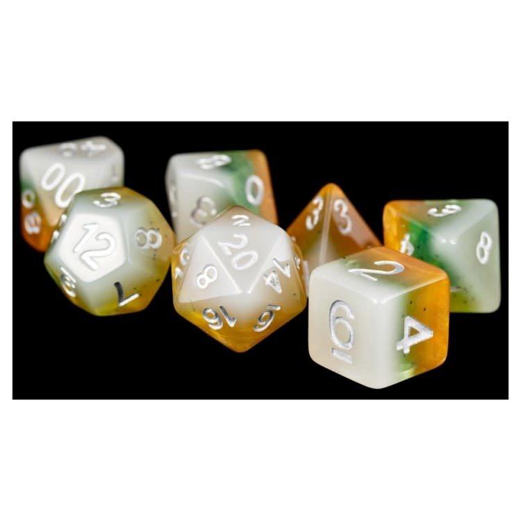 Metallic Dice Games Metallic Dice Games: 7 Set Fruit Kiwi/White