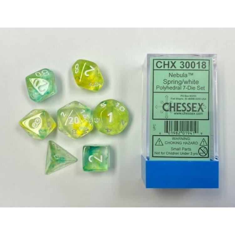 Chessex Chessex 7-Set Dice: Nebula - Spring/White Luminary 30018