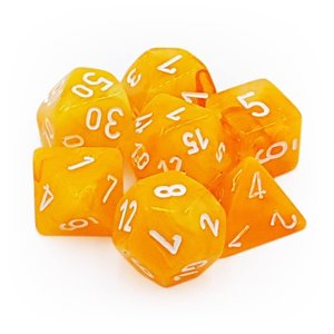 Chessex Chessex 7-Set Dice: Festive - Flare/White Luminary 30007