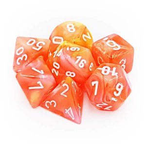 Chessex Chessex 7-Set Dice: Festive - Dahlia/White Luminary 30005