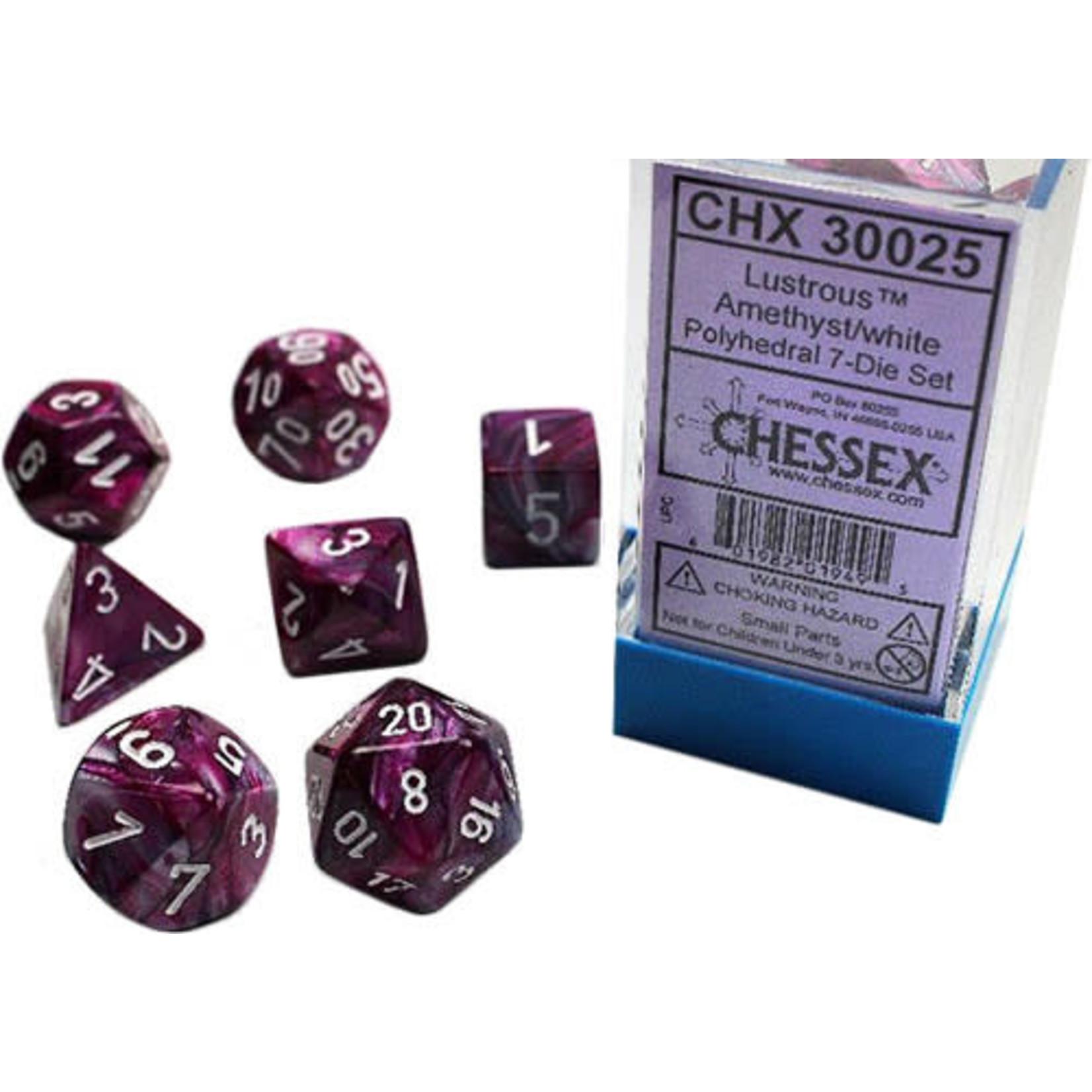 Chessex Chessex 7-Set Dice: Lustrous - Amethyst/White 30025