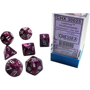 Chessex Chessex 7-Set Dice: Lustrous - Amethyst/White 30025