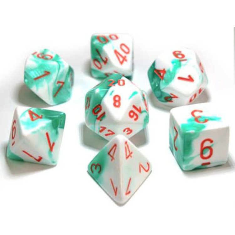 Chessex Chessex 7-Set Dice: Gemini - Green/White/Orange 30020