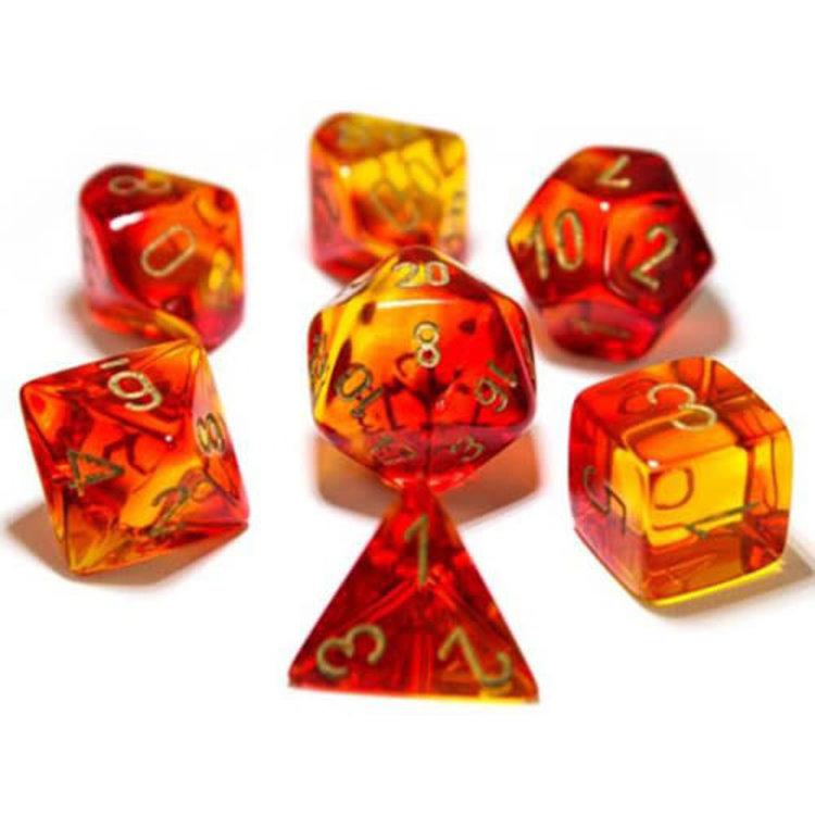 Chessex Chessex 7-Set Dice: Gemini - Red/Yellow/Gold 30024