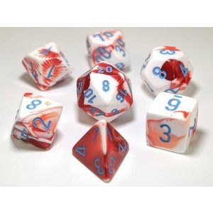 Chessex Chessex 7-Set Dice: Gemini - Red/White/Blue 30022