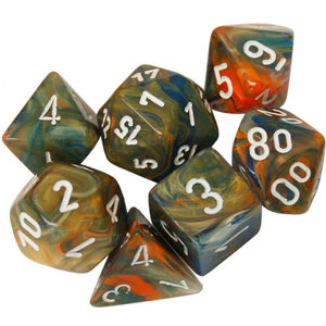 Chessex Chessex 7-Set Dice: Festive - Autumn/White BL Reactive 30001
