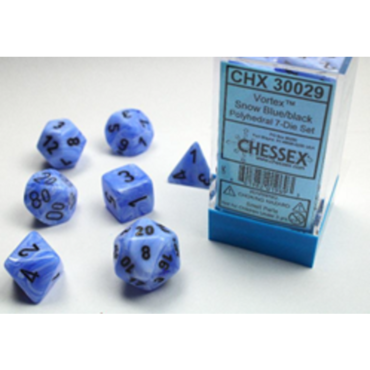 Chessex Chessex 7-Set Dice: Vortex - Snow Blue/Black 30029