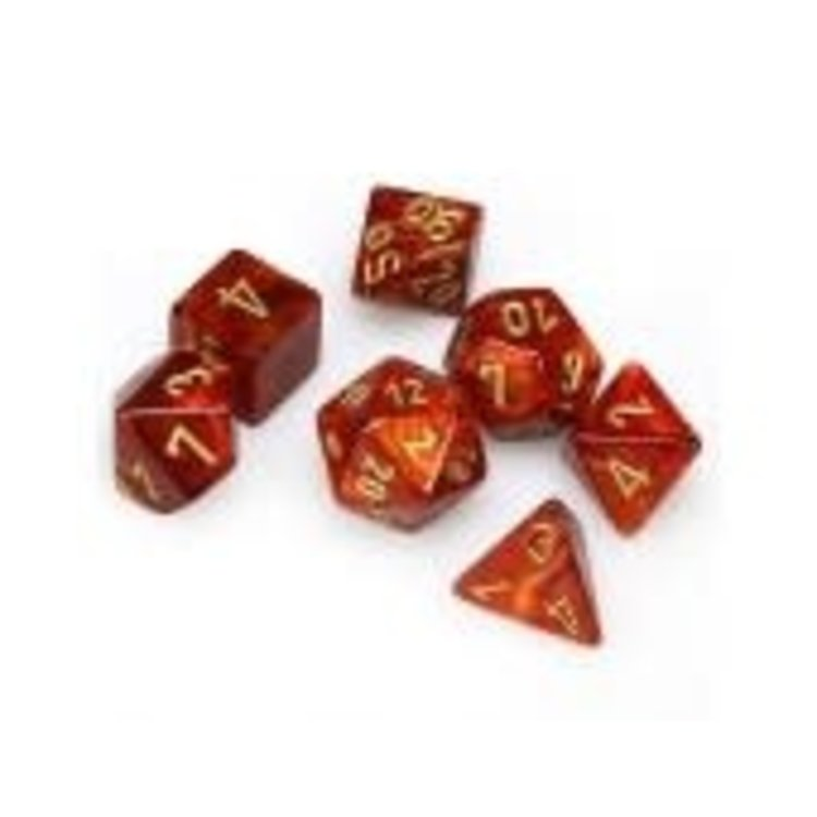 Chessex Chessex Dice: 7-set Scarab - Scarlet Gold 274147